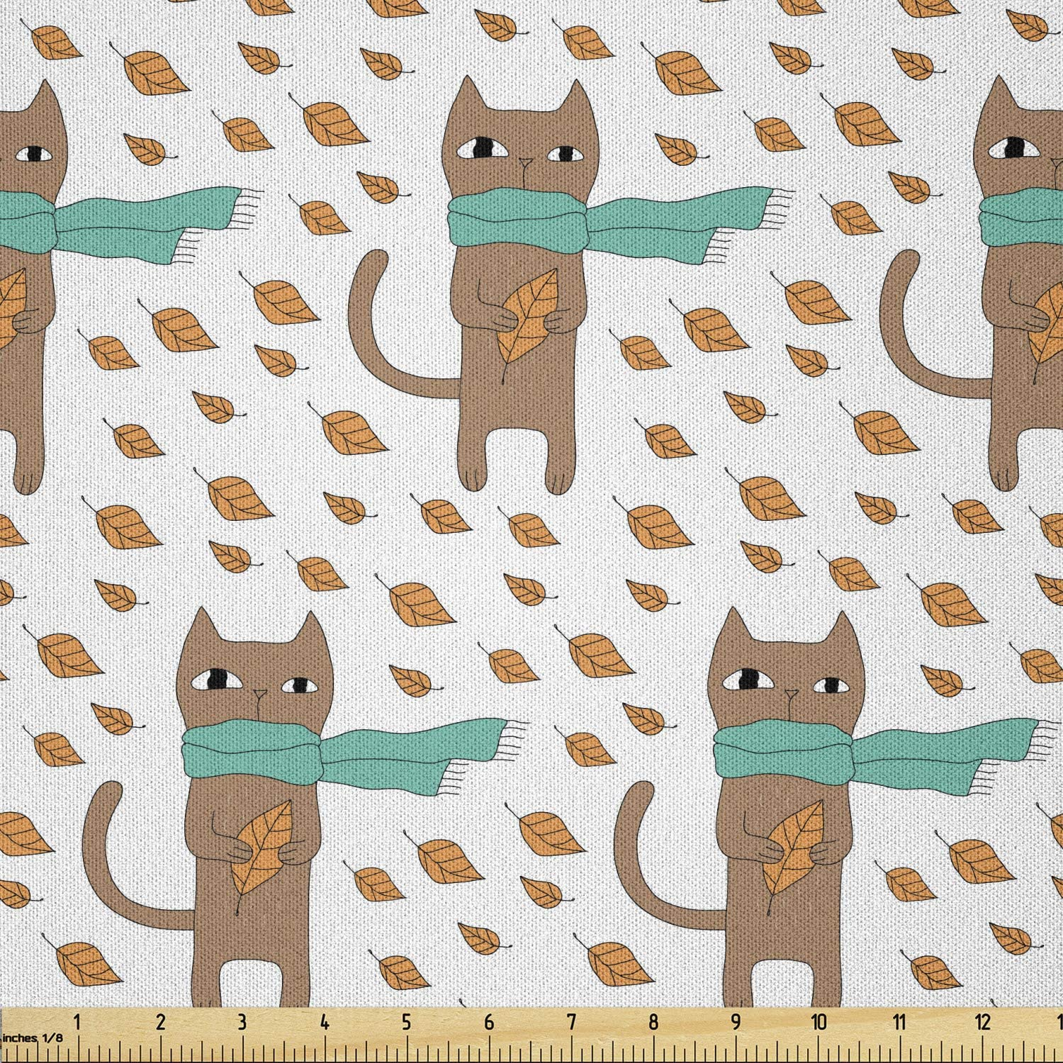 Ambesonne Cat Fabric by Seattle Mall The Yard Same day shipping with Drawn Pattern Hand Animal