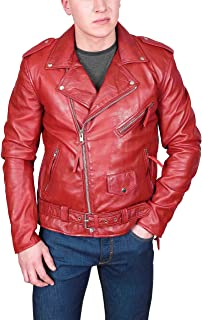 Mens Red Leather Biker Jacket Fitted with Belt Retro Brando Style Coat - Elvis