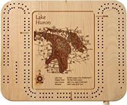 Fairmont Lakes (Amber, Hall, Budd, Sisseton, George) - Martin County - MN - Cribbage Board 9 x 12 in - Laser Etched Wood Nautical Chart and Topographic Depth map.