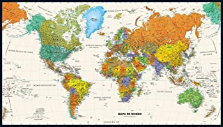 Contemporary World Wall Map in Spanish - 50