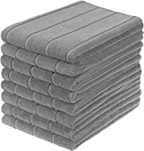 Gryeer Microfiber Kitchen Towels, Super Absorbent, Extra Large and Thick Dish Towels, Stripe Designed, 8 Pack, 28 x 20 Inch, Gray