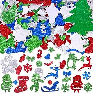HOWAF 300 pcs Noël Mousse Autocollants, Noël Auto-Adhésif Mousse Artisanat Autocollants pour Noël Décoration Arbre De Noël...