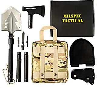 Survival Folding Shovel with Camping Axe Multi-Tool - Folding Shovel Survival Kit with Blade, Saw, Hatchet attachments - S...