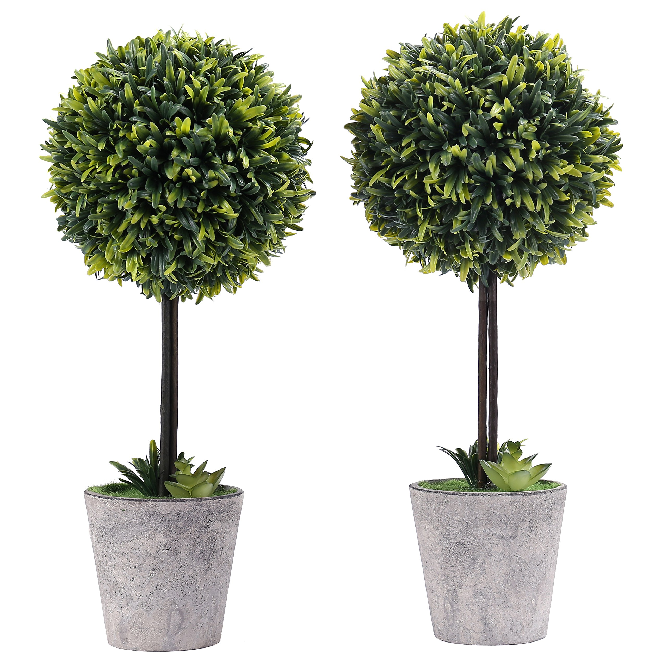 MyGift Artificial Boxwood Topiary Planter