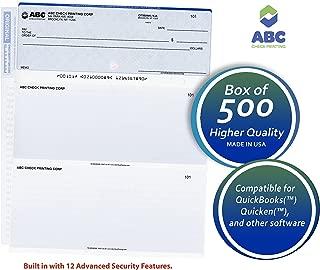 ABC Computer Checks Compatible w/QuickBooks, Checks on Top, Blue - 500 Sheets