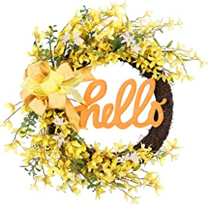 """Valery Madelyn 24 Inch Spring Wreath with Yellow Forsythia for Front Door, Elegant Bow and """"Hello"""" Sign for Mother's Day, Wedding, Wall and Home Decoration"""