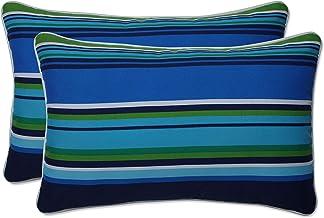 Pillow Perfect Outdoor   Indoor Sea Island Blue Rectangular Throw Pillow (Set of 2), 18.5 X 11.5 X 5