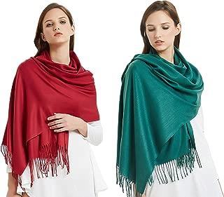 VIVIAN & VINCENT 2 Pack of Large Extra Soft Cashmere Blend Women Pashmina Shawl Wrap Stole Scarf