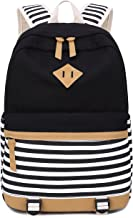BLUBOON Canvas School Backpack Teen Girls Bookbag Women Travel Laptop Daypack (8810-A-Black)
