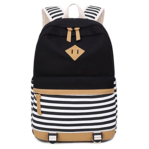 Canvas Students Backpack Casual School Bookbag for Teens Girls (Black White  Stripe) 5bcd31b330c86