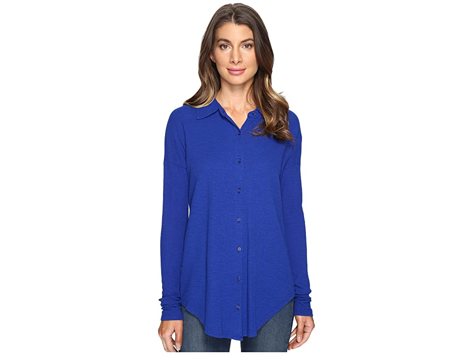 Mod-o-doc Textured Slub Stripe Back Crossover Button Front Shirt (Nautical) Women