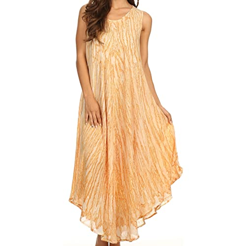 5520762ab89d8 Sakkas Kara Long Draped Sleeveless Marbled Caftan Dress/Cover Up