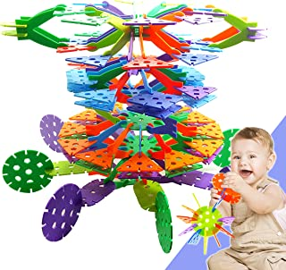 Skoolzy Educational Toys for Toddlers - Jumbo Create O Flakes Brain Building Blocks - STEM Toys for Boys & Girls Ages 2, 3, 4, 5 Years Old - 120pc Occupational TherapyToddler Toys