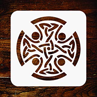Celtic Cross Stencil - 6.5 x 6.5 inch - Reusable Religious Tribal Knotwork Wall Stencils Template - Use on Paper Projects Scrapbook Journal Walls Floors Fabric Furniture Glass Wood etc.