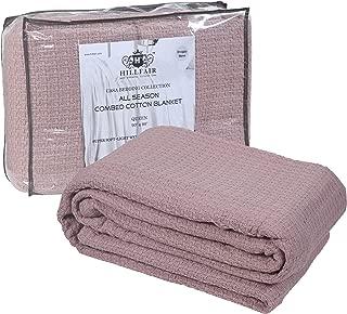 HILLFAIR 100% Soft Premium Combed Cotton Thermal Blanket– Twin Blankets – Soft Cozy Warm Cotton Blanket– Bed Throw Blanket– Twin Bed Blankets– All Season Cotton Blanket–Dusty Rose Twin Cotton Blankets