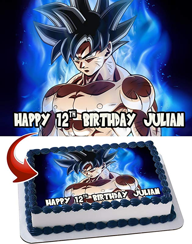 Dragon Ball Super Goku Ultra Instinct Personalized Cake Toppers Icing Sugar Paper A4 Sheet Edible Frosting Photo Birthday Cake Topper 1 4 Best Quality Edible Cake Image