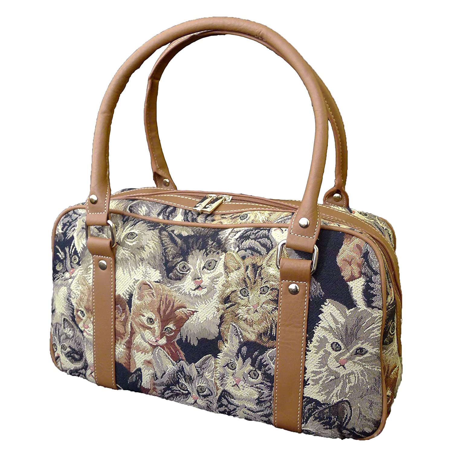 Signare 4750-Cat Cat Tapestry Oval Purse