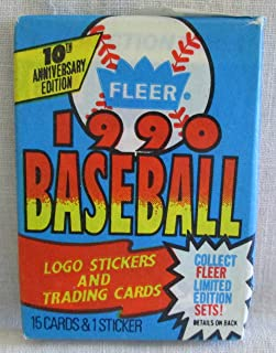 1990 FLEER BASEBALL CARDS - UNOPENED PACK OF 10TH ANNIVERSARY CARDS (FREE SHIPPING)