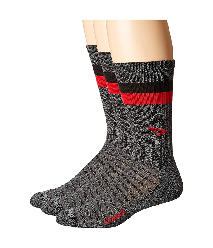 Drymax Sport  Running Lite Mesh Crew 3-Pack (Bittersweet Graphite Heathered/Red/Black Stripes) Crew Cut Socks Shoes