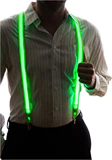 Neon Nightlife Light Up LED Suspenders for Men, Cool Novelty Costume Accessory | Colorful Blinky Flashy Nerd Clothing Outfit