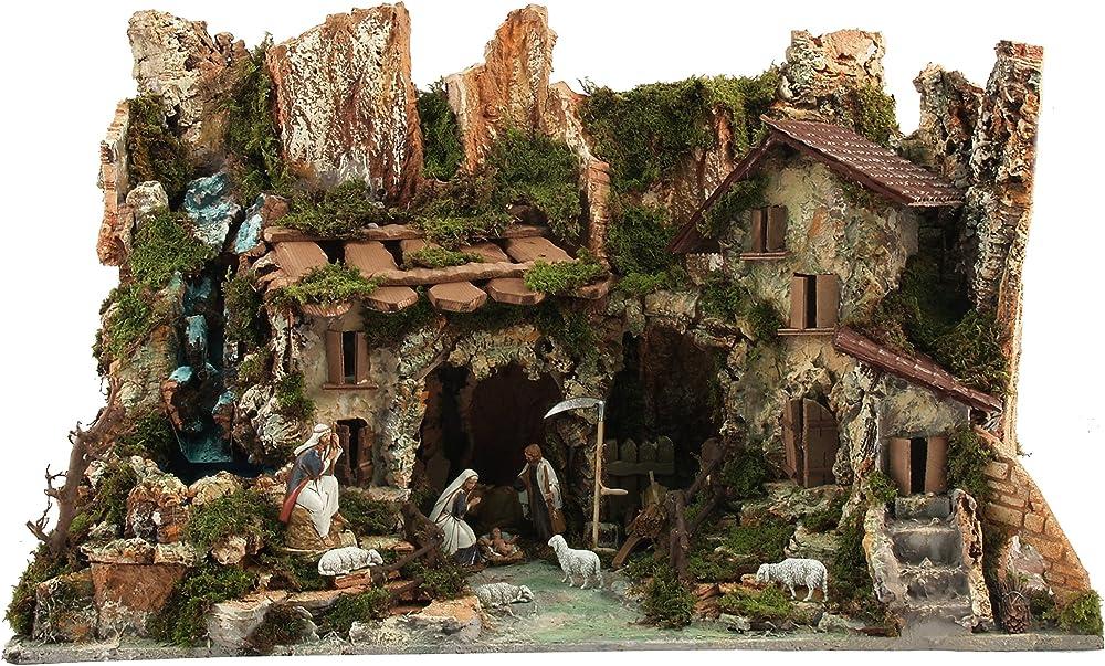Ferrari & arrighetti villaggio con cascata, luci e natività D92BS