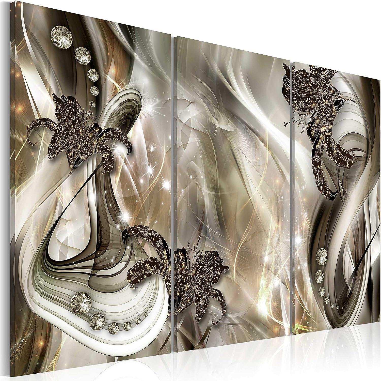 Murando - Acrylglasbild Abstrakt 120x80 cm - 3 Teilig - Bilder Wandbild - modern - Decoration Blaumen Lilien a-C-0049-k-g