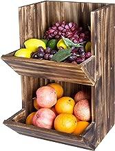 MyGift 2-Tier Burnt Wood Wall Mountable Display Bins, Fruit and Produce Storage Rack