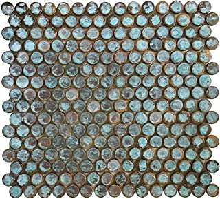 Copper Bath & Kitchen Backsplash, Fireplace Surround, Wall Decor Tile - Eden Mosaic Tile Antique Rust Patina Finish Copper Mosaic Tile