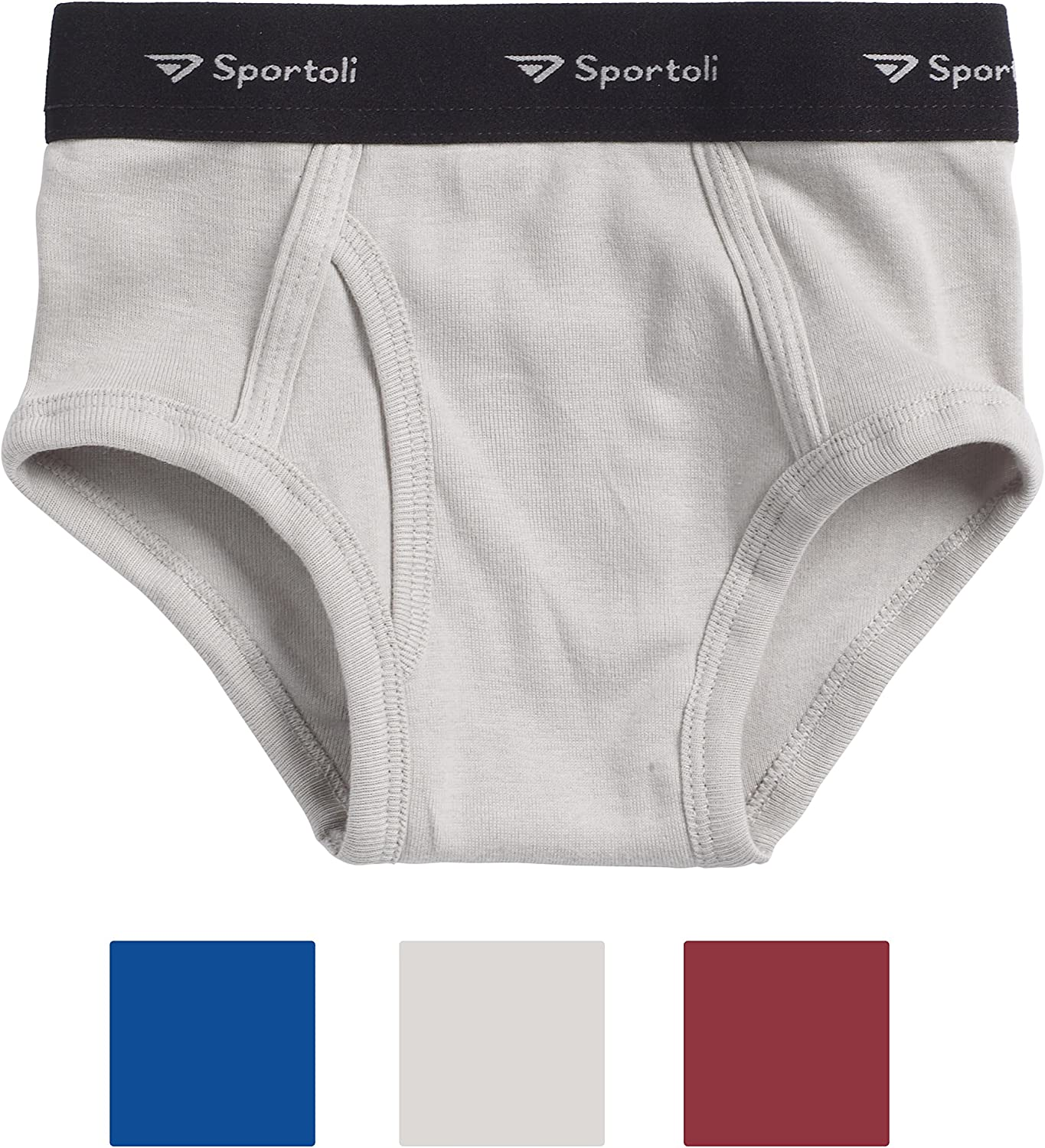 Sportoli Boys 3 Pack 100/% Cotton Tagless White and Assorted Colors Briefs