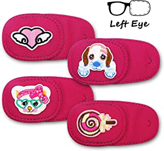 Astropic 4Pcs Eye Patches for Kids Girls Boys Eye Patch for Glasses Medical Patches for Adults Children with Lazy Eye Amblyopia Strabismus and After Eye Surgery (Left Eye, Pink)