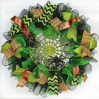Green Spider Web Wreath | Halloween Mesh Outdoor Front Door Wreath | Black Orange