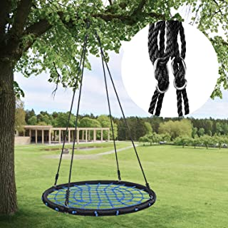 "HYCLAT Saucer Tree Swing - 40""Spider Web Tree Swing Net Swing Platform Rope Round Swing 70"