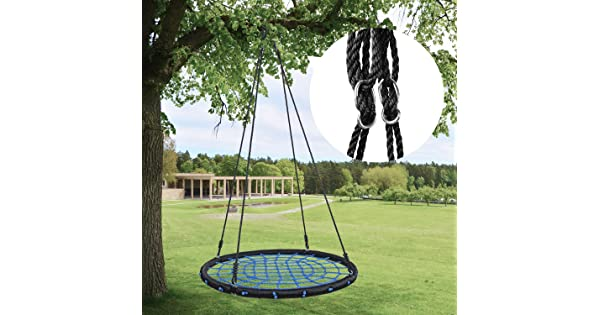 "HYCLAT Saucer Tree Swing 40/""Spider Web Tree Swing Net Swing Platform Rope Round Swing 70 Detachable Nylon Rope Swivel Extra Safe and Durable for Kids Max 600 Lbs Capacity"