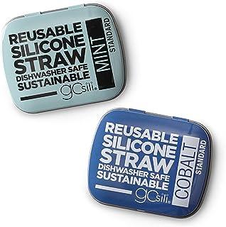GoSili Standard Straw Tins, 2 pk, Cobalt/Mint