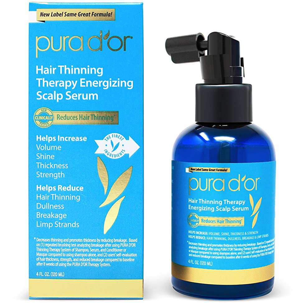 PURA D'OR Hair Thinning Therapy Energizing Scalp Serum Revitalizer (4oz) with Argan Oil, Biotin, Caffeine, Stem Cell, Catalase & DHT Blockers, All Hair Types, Men & Women (Packaging may vary) gljxotwc724