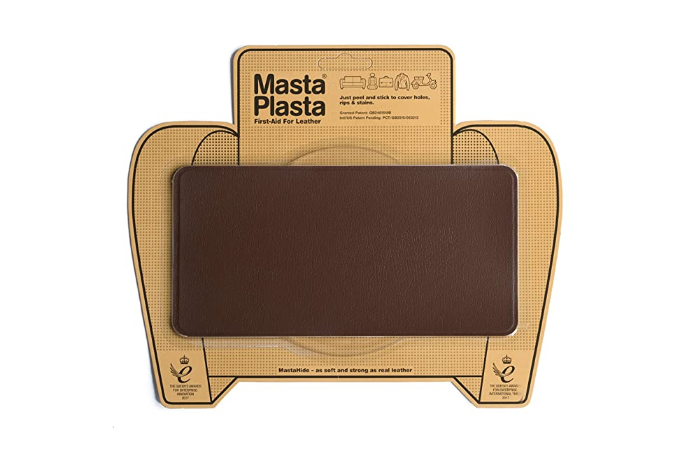 MastaPlasta Self-Adhesive Patch for Leather and Vinyl Repair, Large, Mid Brown - 8 x 4 Inch - Multiple Colors Available