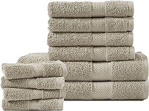 Luxurious 10 Piece Bathroom Towels , Premium Quality Bathroom Towel Set, Super Soft & Fluffy, Highly Absorbent, Large Bath Towels Set (2 Bath Towels, 4 Hand Towels & 4 Wash Cloths)-Platinum