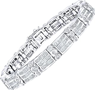 Men's Sterling Silver .925 Bracelet with Cubic Zirconia (CZ) Stones and Box Lock, Platinum Plated. Sizes available 8