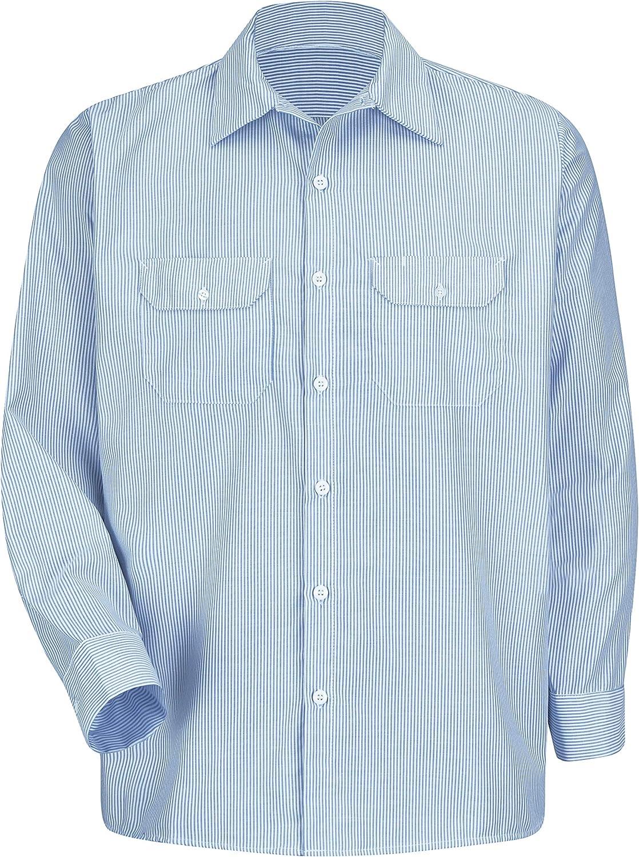 Red Kap Men's Deluxe Uniform Shirt, White/Blue Pin Stripe, Long 2X-Large