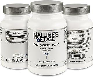 Nature's Edge® Premium Quality Red Yeast Rice 600mg. Non-GMO and CITRININ-Free. Vegetarian. 60 Vegetarian Capsules/Bottle....