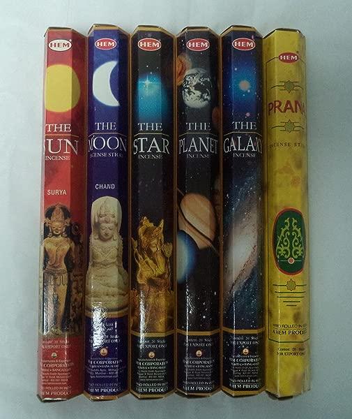 Hem Universe Incense Set Sun Moon Star Planet Galaxy Prana 6 X 20 120 Sticks
