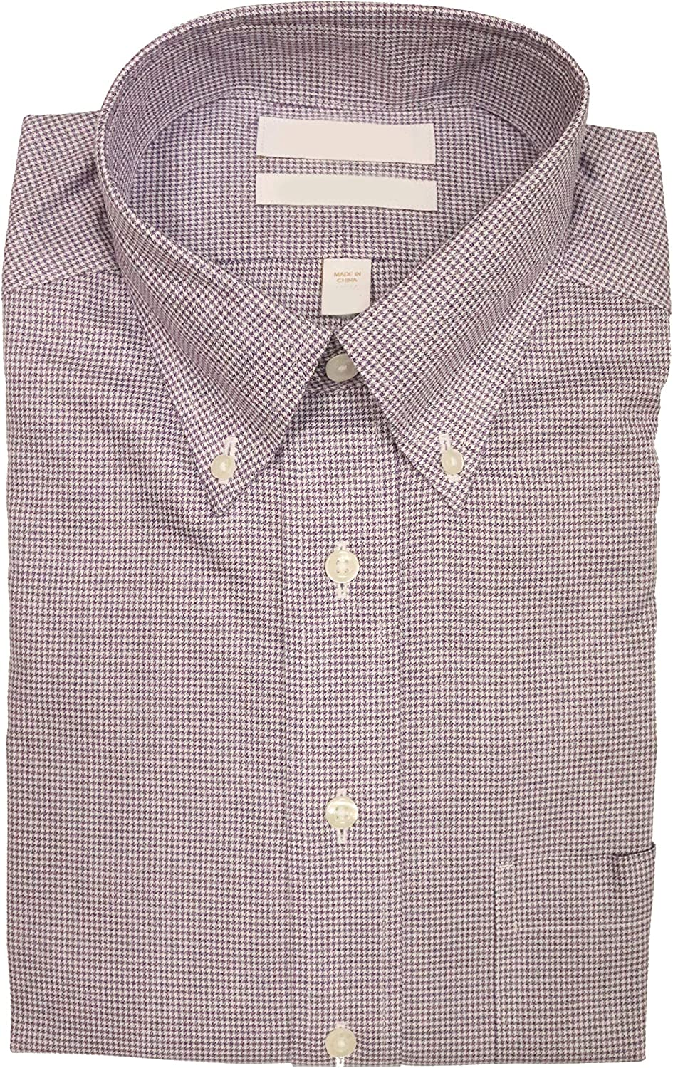 Gold Label Roundtree & Yorke Non-Iron Fitted Classic-Fit Button-Down Collar Plaid Dress Shirt F65DG114