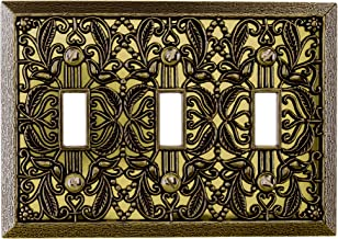 Amerelle Filigree Triple Toggle Cast Metal Wallplate in Antique Brass