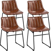 """Yaheetech 18"""" PU Leather Dining Chairs Armless Chairs Indoor/Outdoor Kitchen Dining Room Chairs with Metal Legs Upholstere..."""