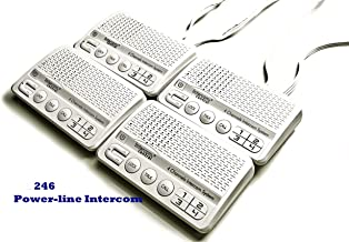 Intercom Central 246-4 Channels HOME Power-line Intercom System, 3 Wire, White, Four Stations Set