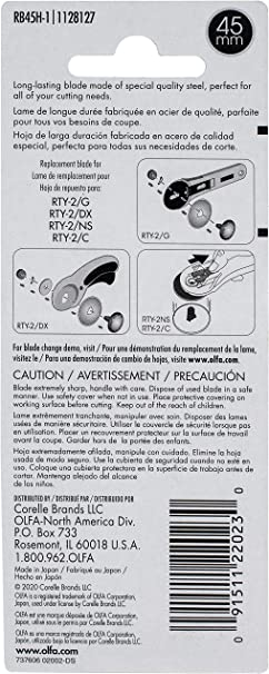 OLFA 45mm Rotary Endurance Blade Twice The Life Of Standard Blades RB45H-1