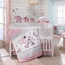 Lambs & Ivy Boho Elephant Pink/Gray/White Nursery 5-Piece Baby Crib Bedding Set