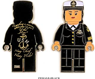 US Navy Chief Petty Officer in Black or White Chief Dress Mess, Navy Chief Navy Pride Challenge Coin - Choose from 4 Different Options (F-BLK)