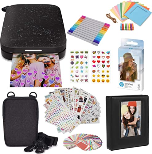 HP Sprocket Portable 2x3 Instant Photo Printer (Black Noir) Starter Bundle