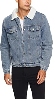 French Connection Men's Denim Sherpa Jacket